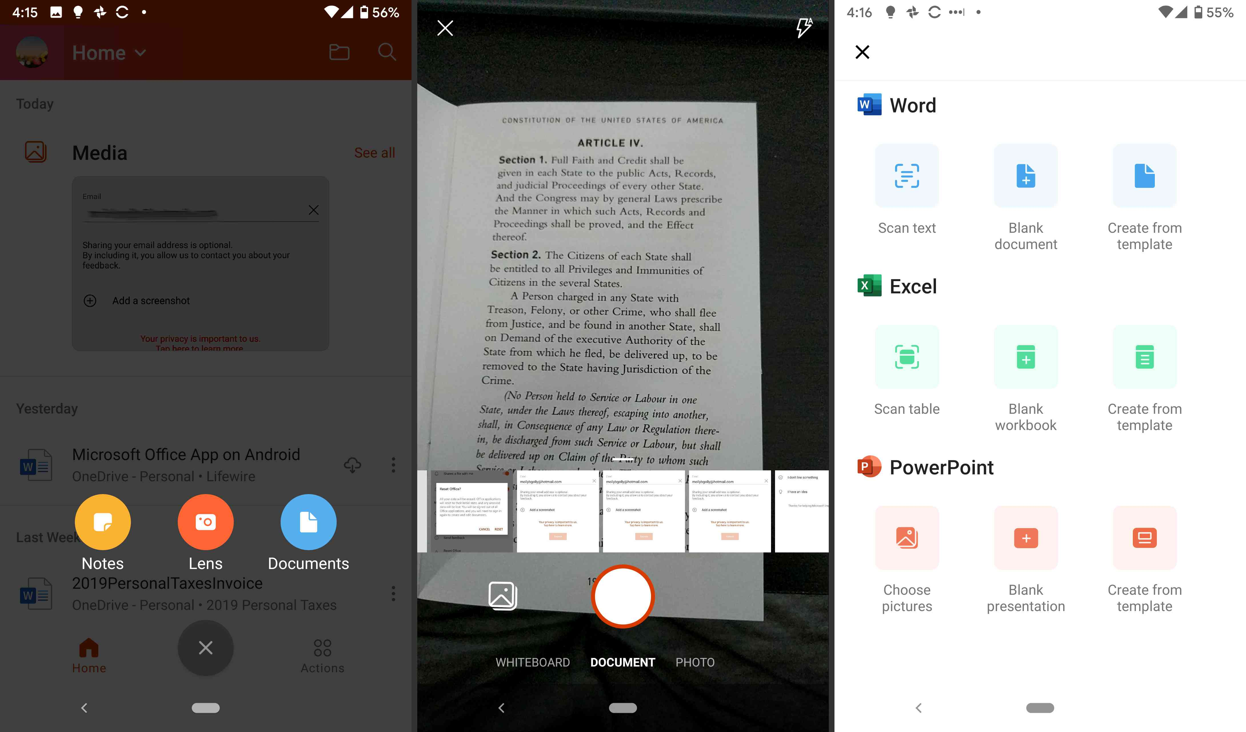 Creating a new file in the Office app for Android.