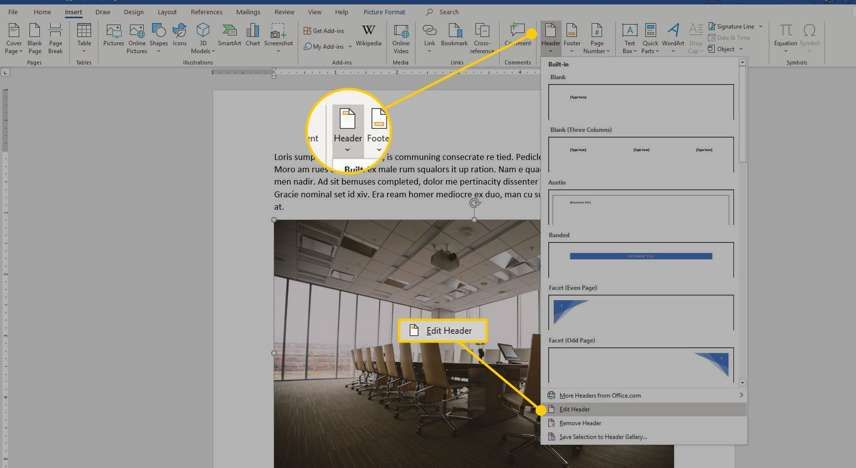 Microsoft Word with the Header and Edit Header buttons highlighted