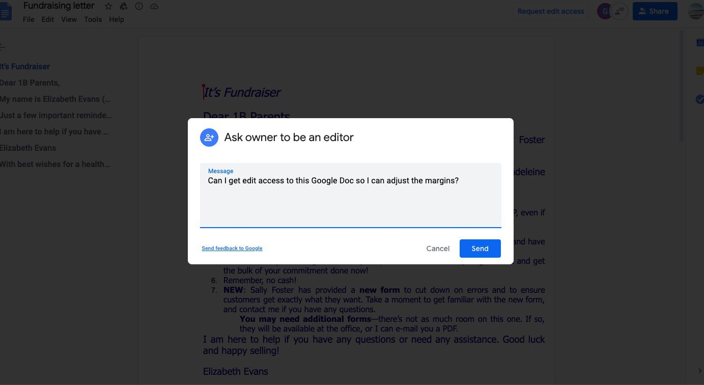 In the Ask owner to be an editor box, type a message, and select Send.