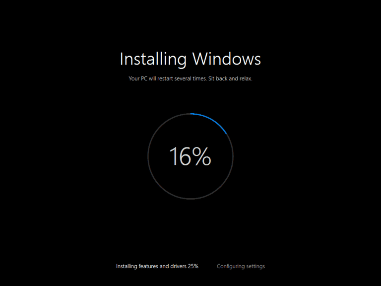 Screenshot of the Installing Windows portion of the Reset This PC process in Windows 10