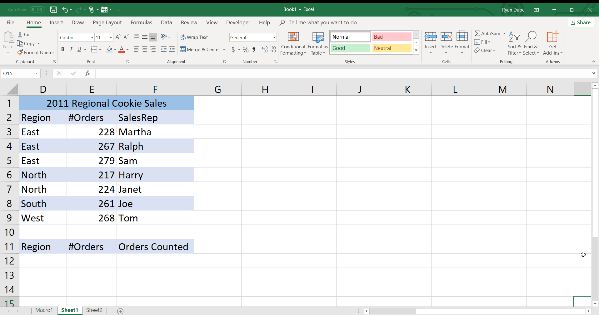 Count Data that Meets Criteria with the Excel COUNTIFS Function