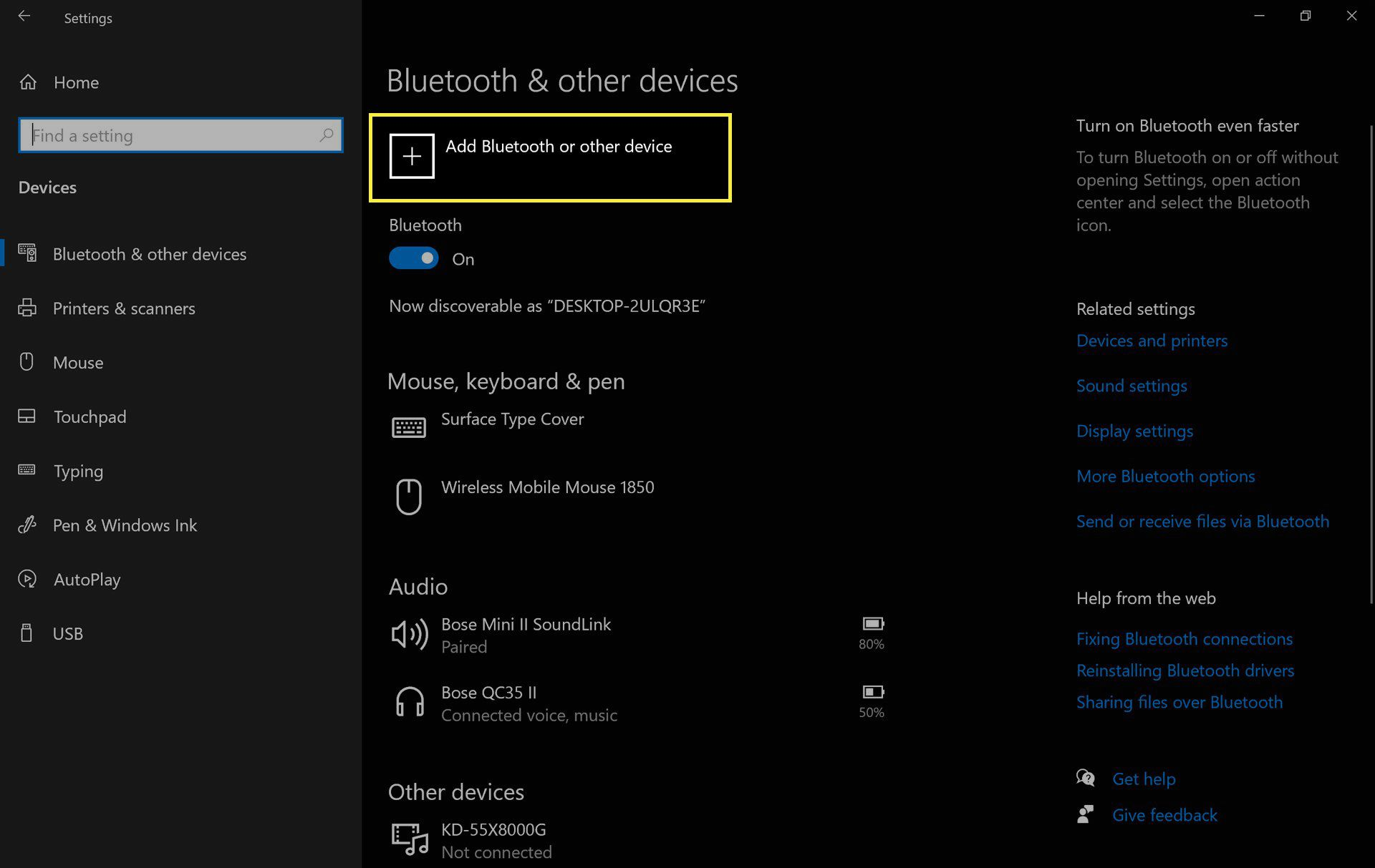 Windows 10 Bluetooth device settings with