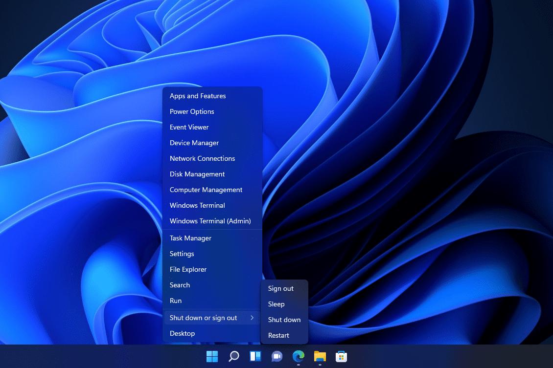Power User Menu restart button for Windows 11