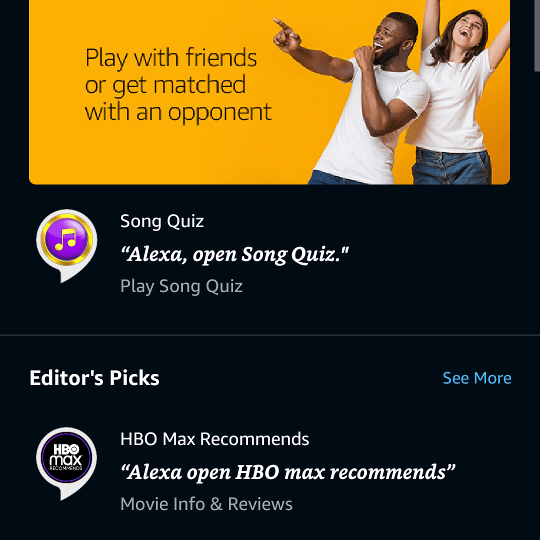 The magnifying glass icon highlighted in the Alexa app.