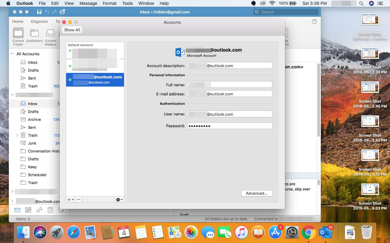 A newly added Outlook.com account in Outlook for Mac.