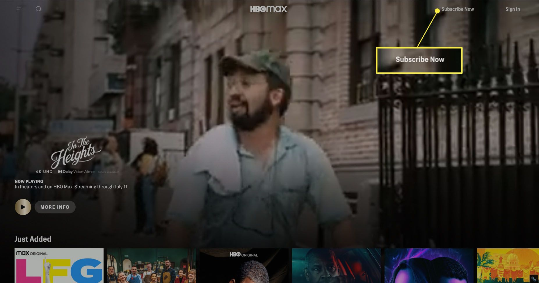 HBO Max website with Subscribe Now highlighted