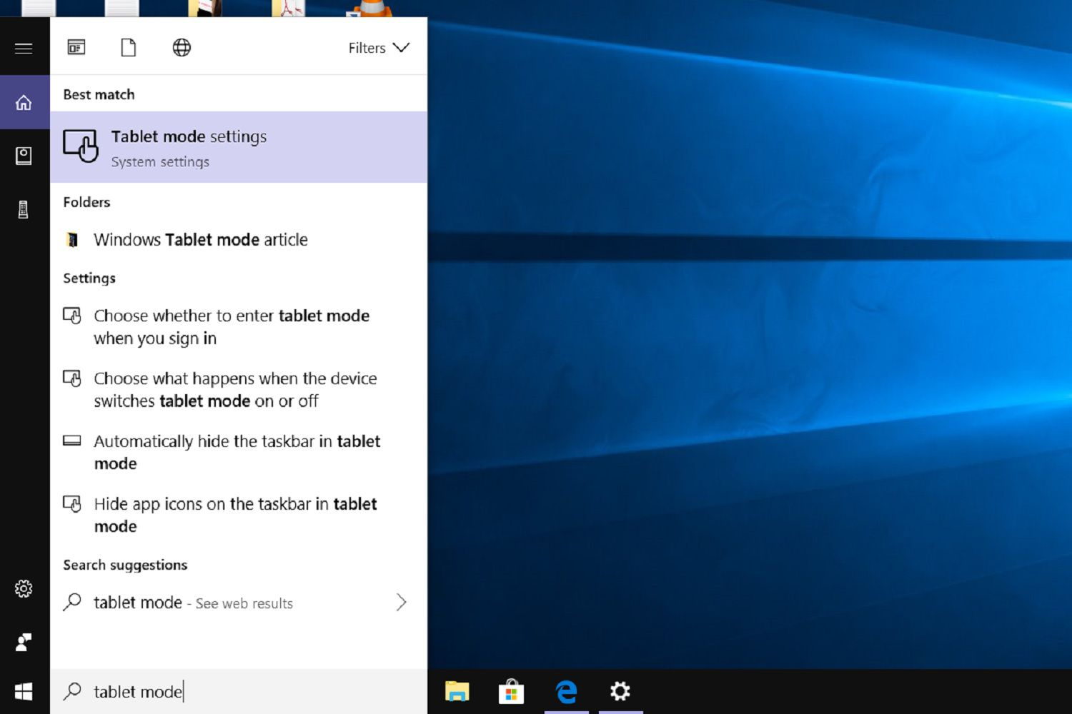 A screenshot showing how to use the Search bar method to access Tablet mode settings in Windows 10.