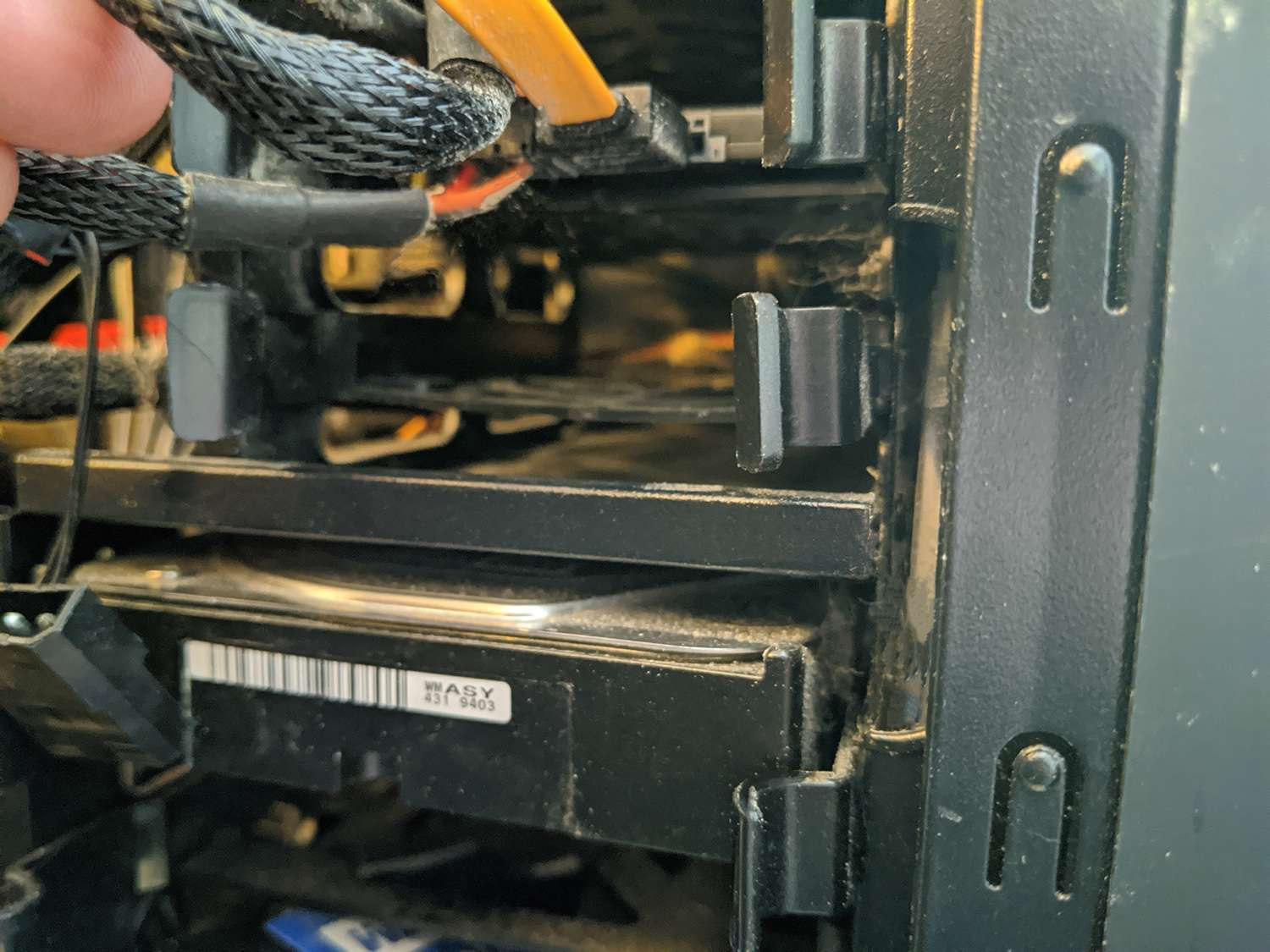 An open drive bay in a PC.