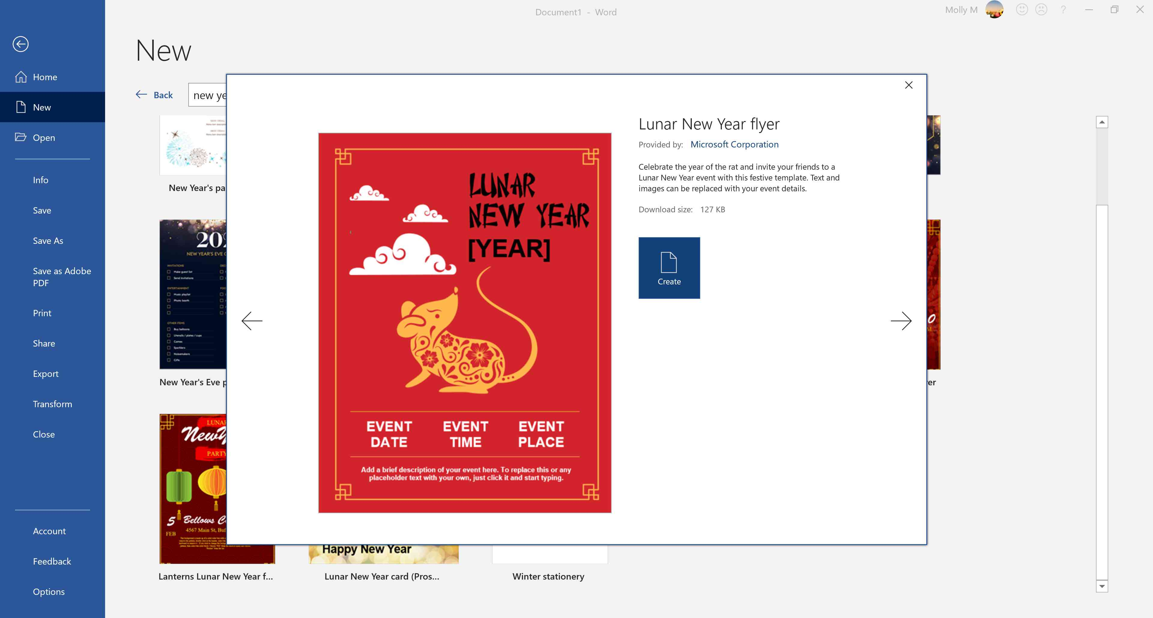 Chinese New Year invite template in Word.