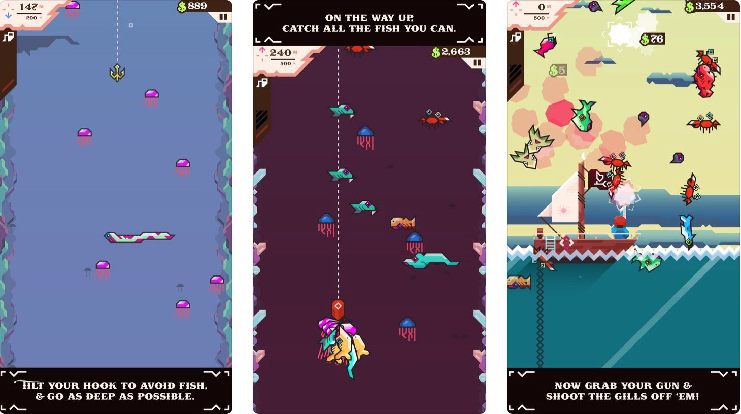 Game screens from Ridiculous Fishing