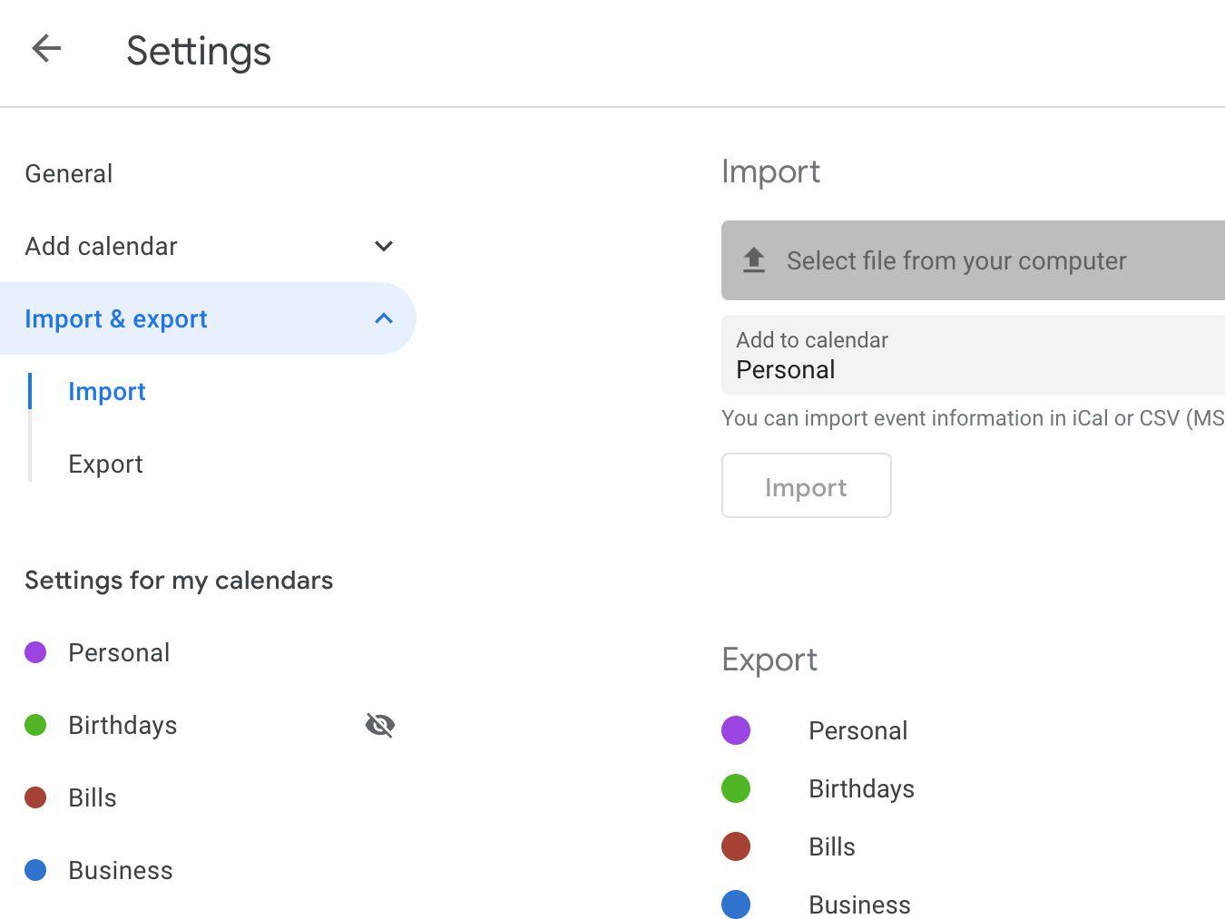 Google Calendar import screen