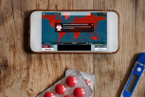 Plague Inc on a smartphone.