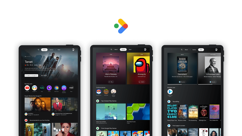 An overview of the three tabs in Entertainment Space on Android
