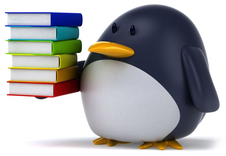 Penguin holding a pile of books