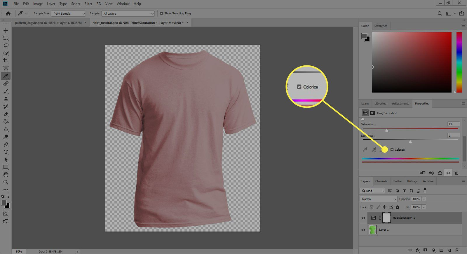 A screenshot of Photoshop's Adjustments window with the Colorize option highlighted