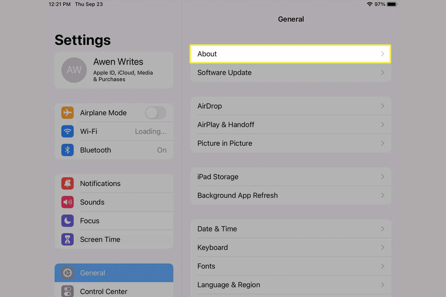 The About option highlighted from iPad settings.