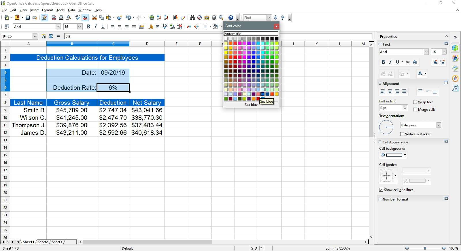Selecting sky blue for the text in OpenOffice Calc.