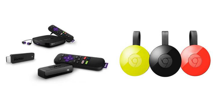 Product lineup of Roku and Chromecast digital streamers