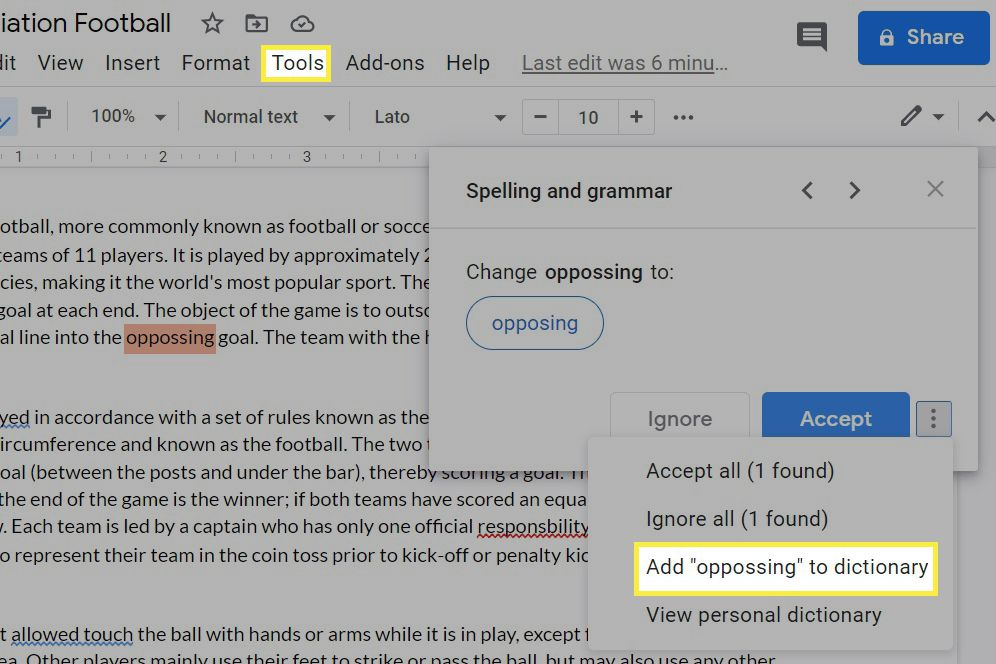 Customizing the personal dictionary in Google Docs.