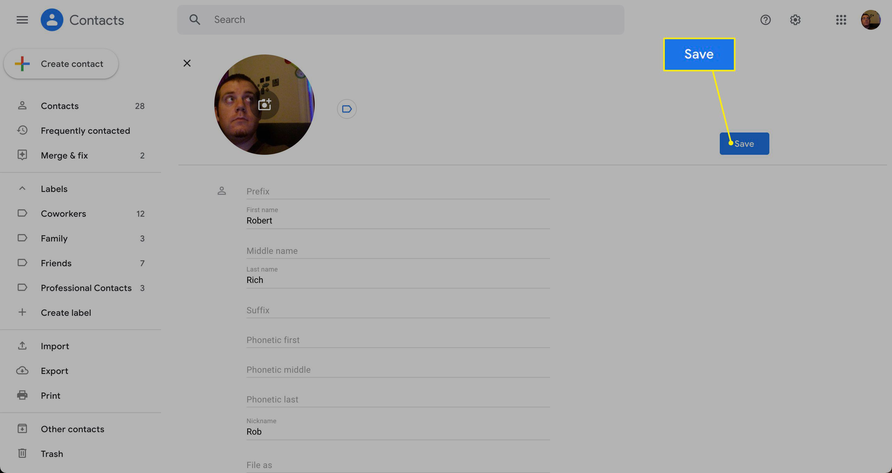 Save highlighted in Gmail contacts