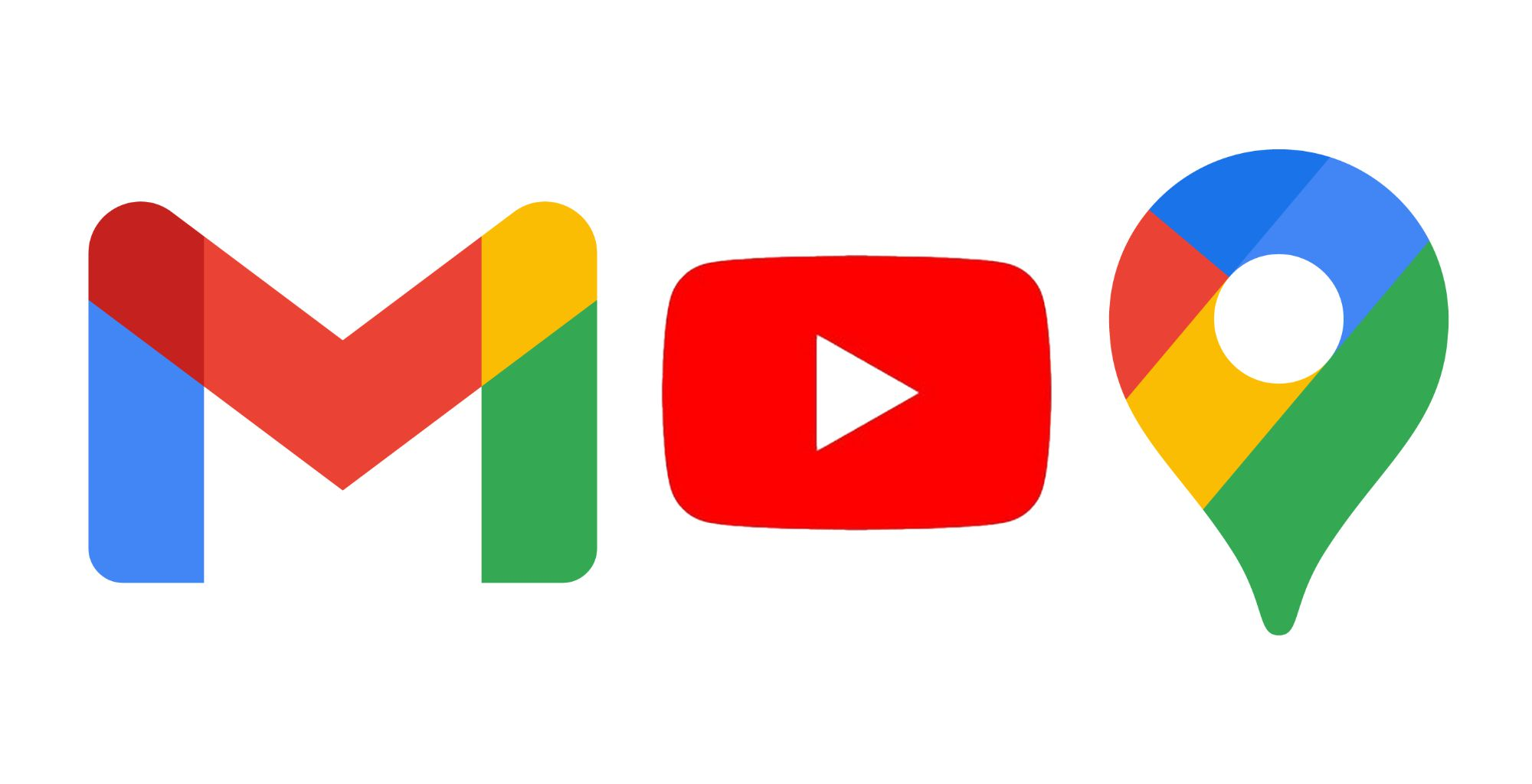 Gmail, YouTube, and Google Maps logo