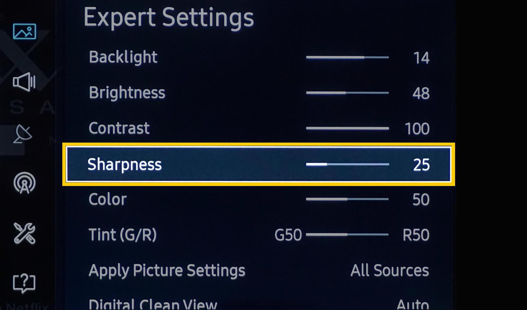 Samsung Picture Sharpness Setting