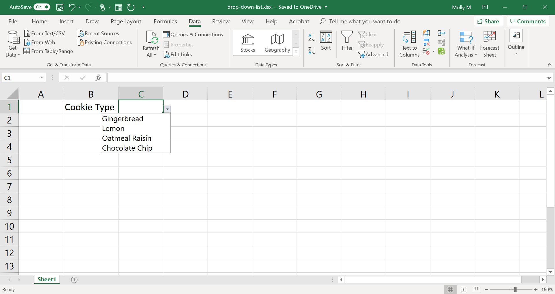 Excel sheet with a drop-down list of cookie types.