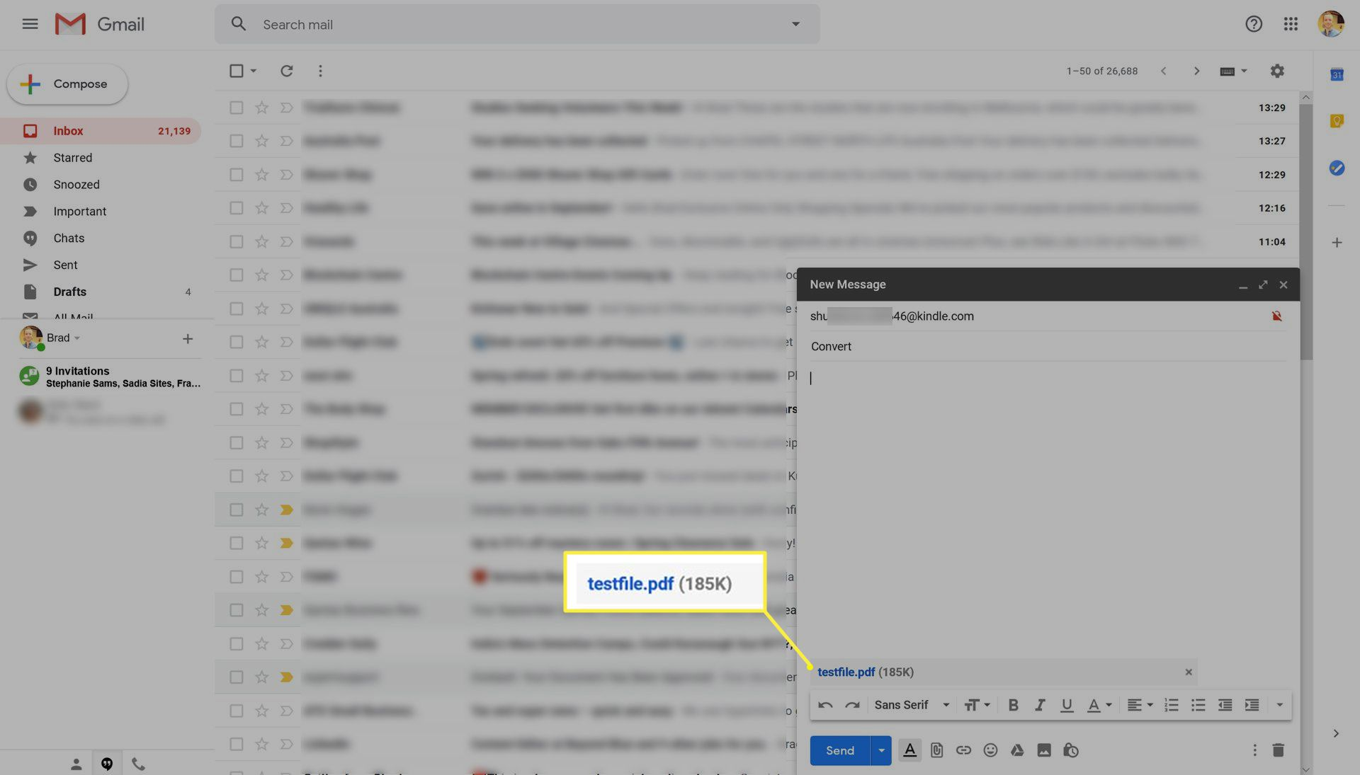 Sending a PDF file to a Kindle in Gmail