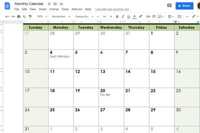 Screenshot of a calendar template in Google Docs