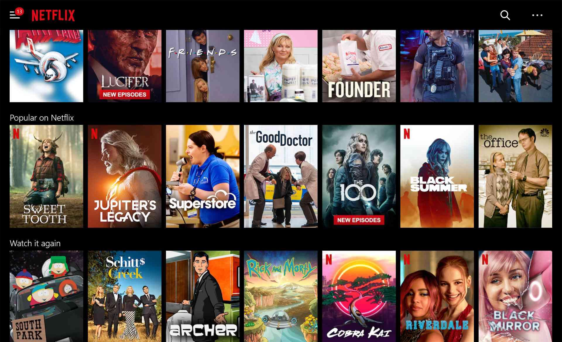 Netflix app on a Windows 10 Surface.