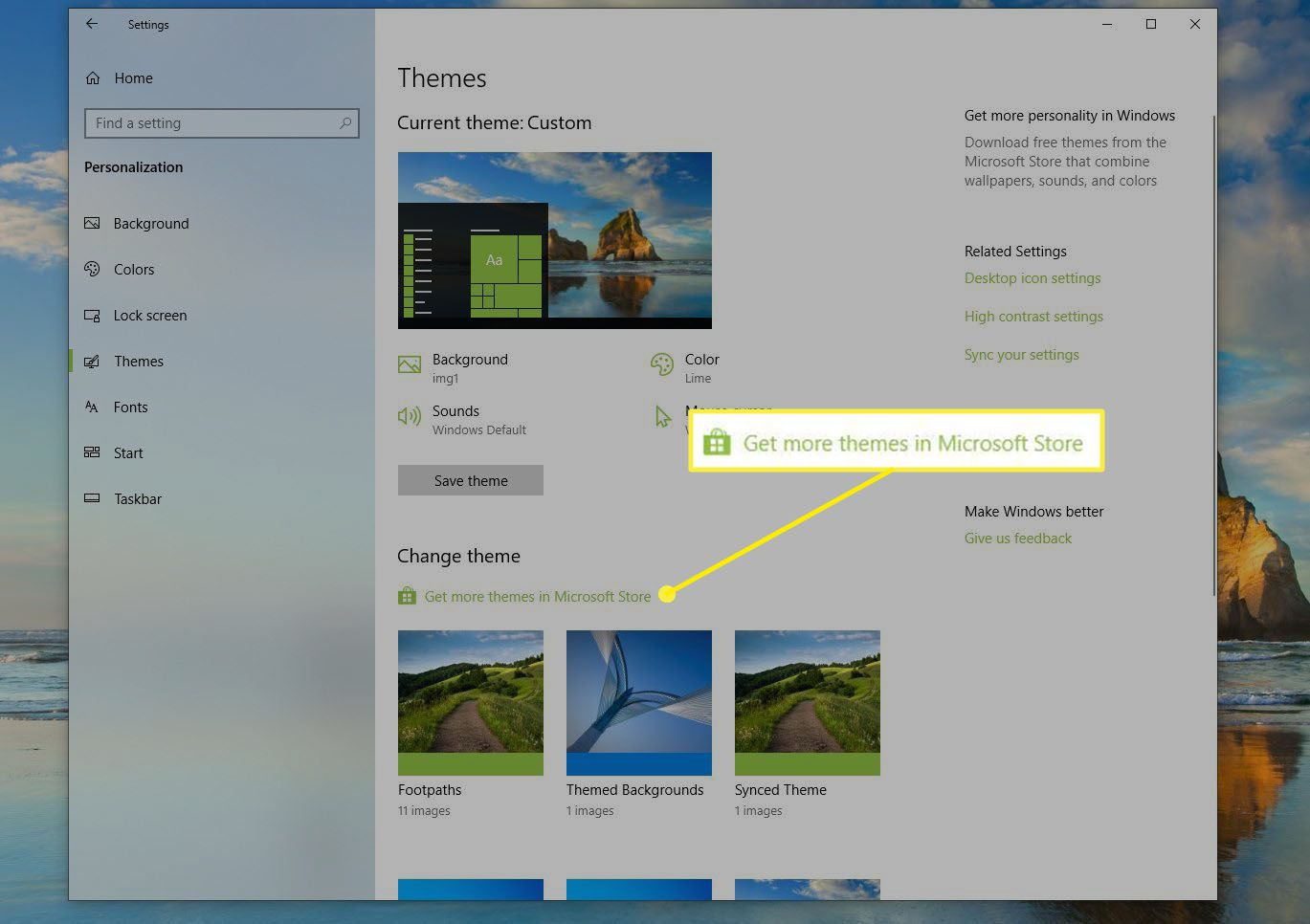 Get More Themes in Microsoft Store link