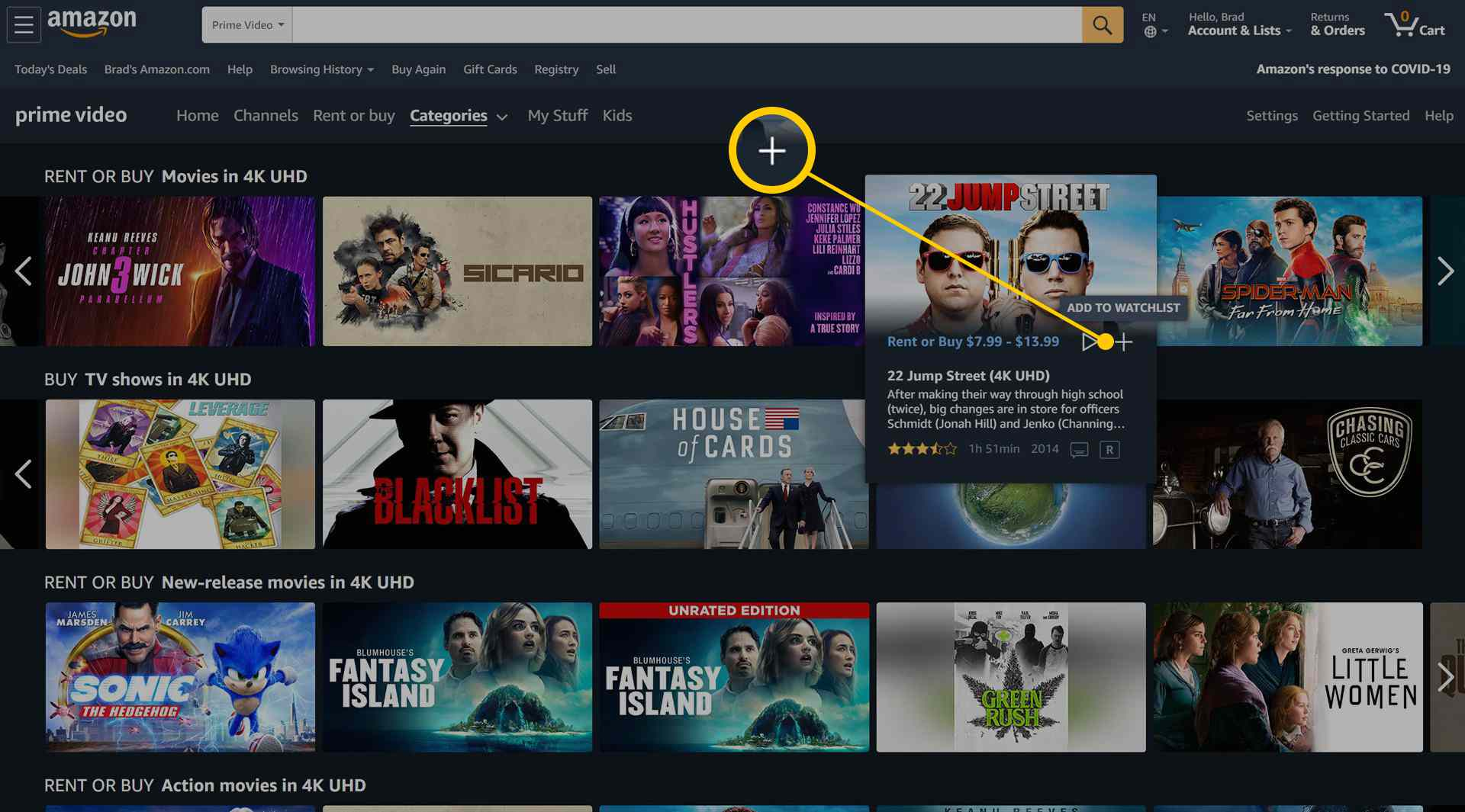 Amazon Prime Video 4K Movies and TV Shows category web page.