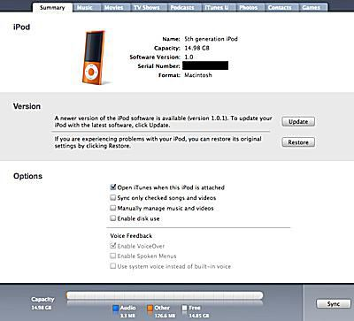 setting up ipod