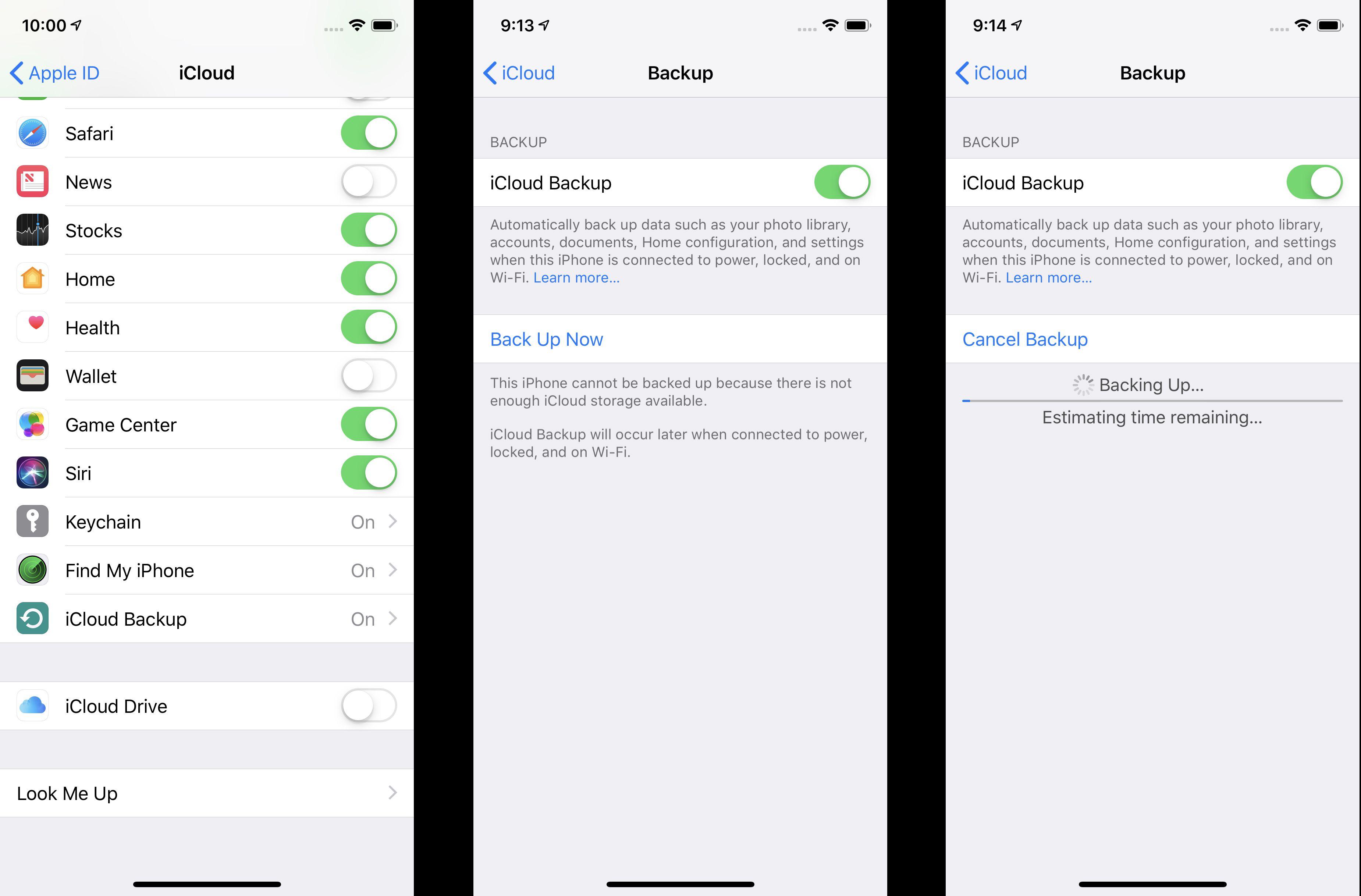 iphone 7 backup settings