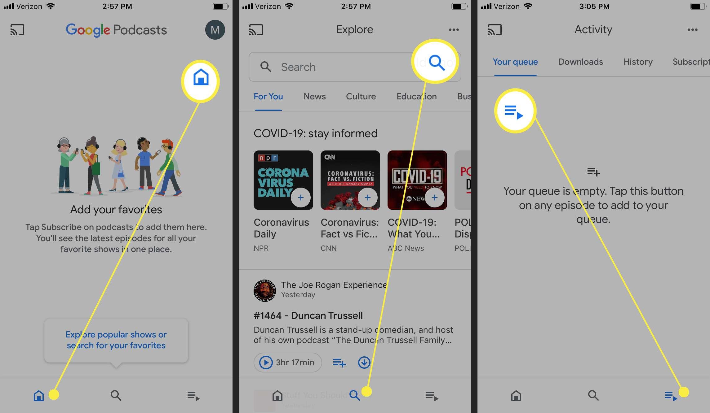 Google Podcasts on iOS.