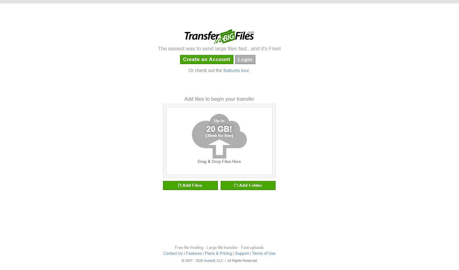 Screenshot of the TransferBigFiles website.