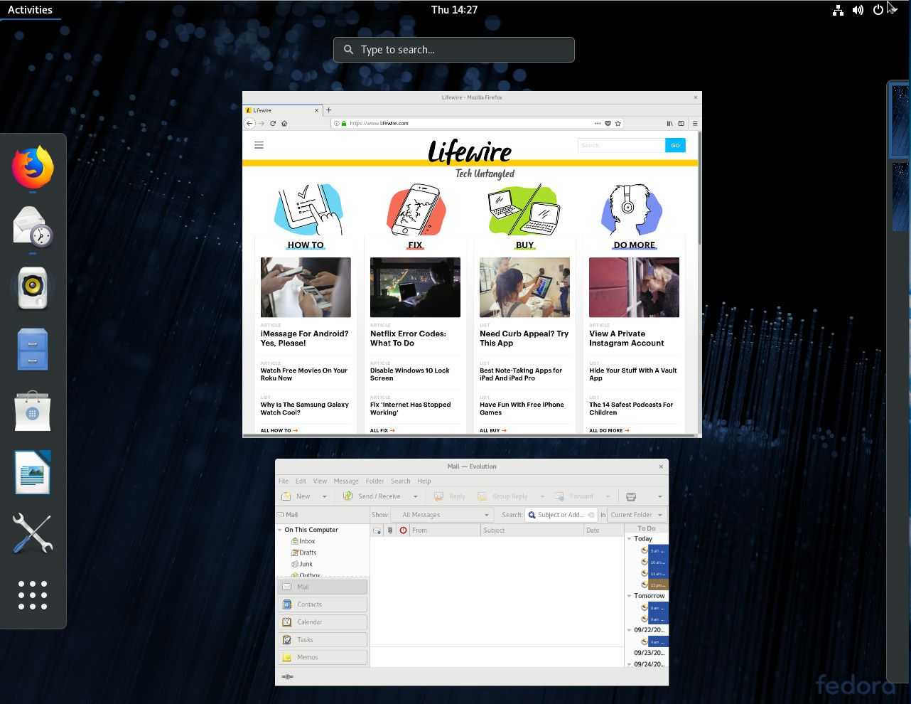A screenshot showing the GNOME activities overview.