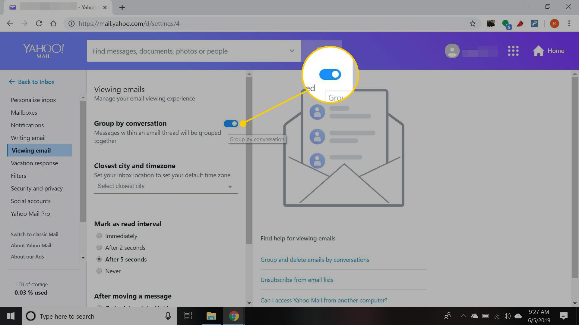 Yahoo Mail viewing email settings with Group by conversation highlighted