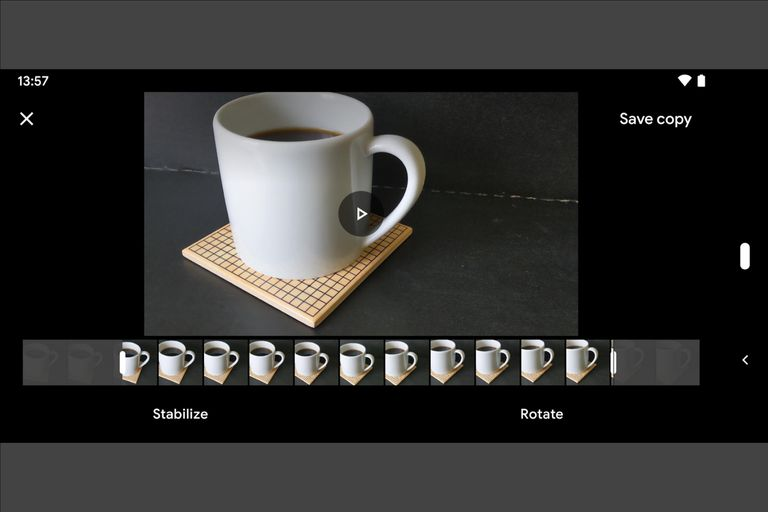 Landscape screenshot from Google Photos edit, showing both ends of video trimmed (image is of a coffee cup and coaster)
