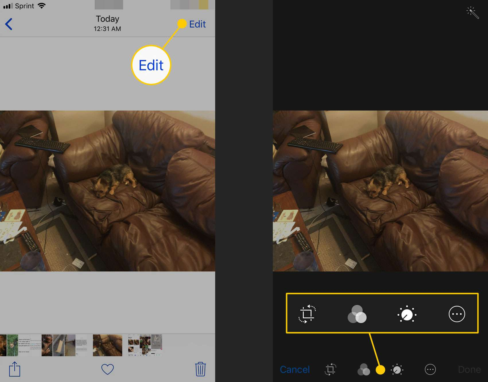 The edit button and editing tools in Photos on an iPhone