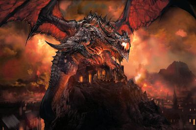World of Warcraft dragon atop a building on a hill