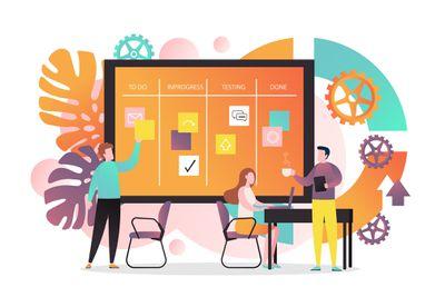 A creative team developing software using agile kanban methodology