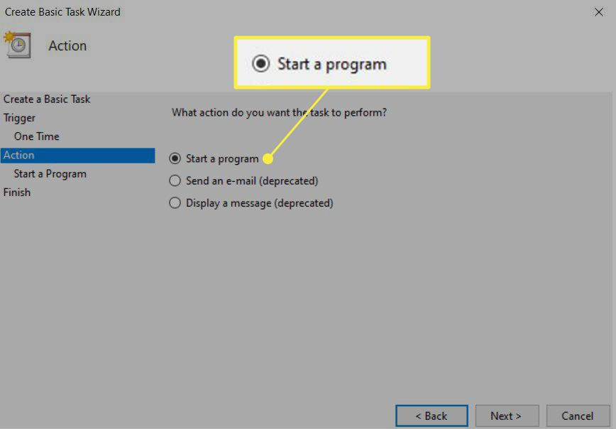 Task Scheduler Action Windows with Start a Program highlighted