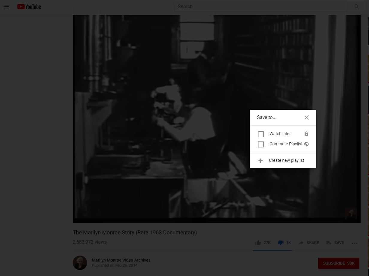 Save To menu with playlist in YouTube