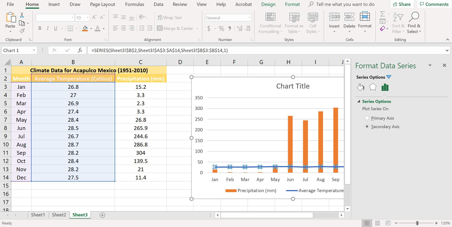 The Format Data Series dialog box in Excel