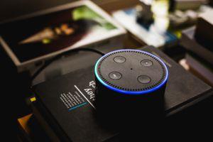 Amazon Echo Dot in use