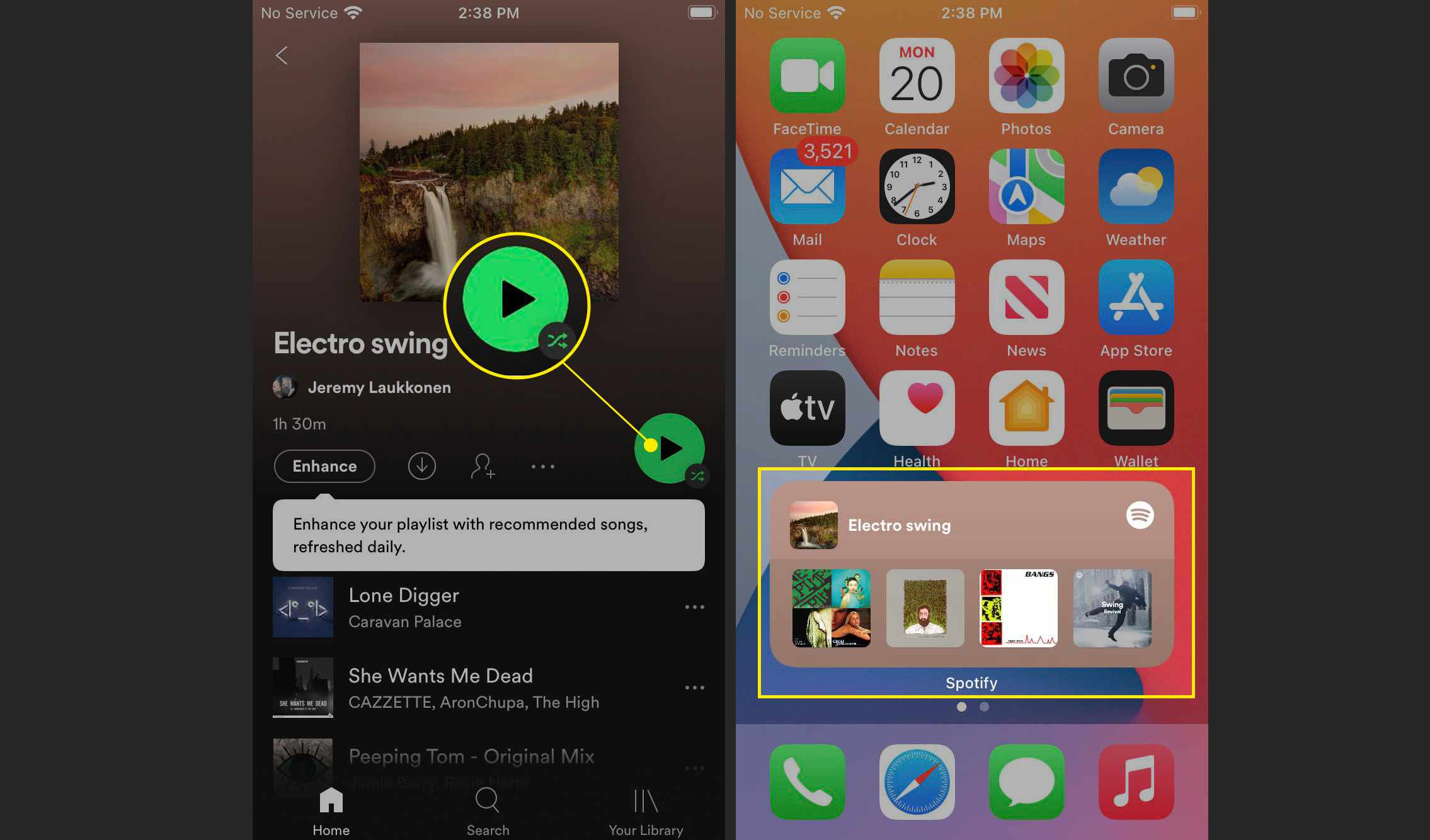 The Play button highlighted in Spotify and the Spotify widget playing music on an iPhone.