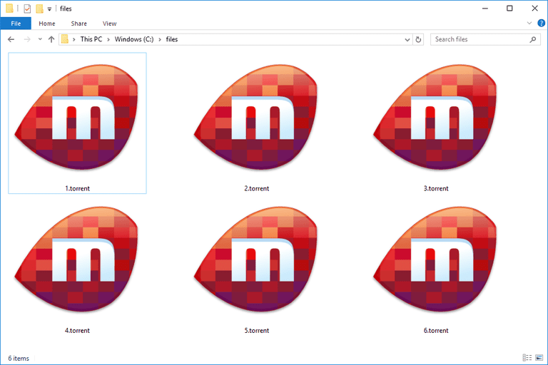 Screenshot of several .TORRENT files in Windows 10 that open with Miro