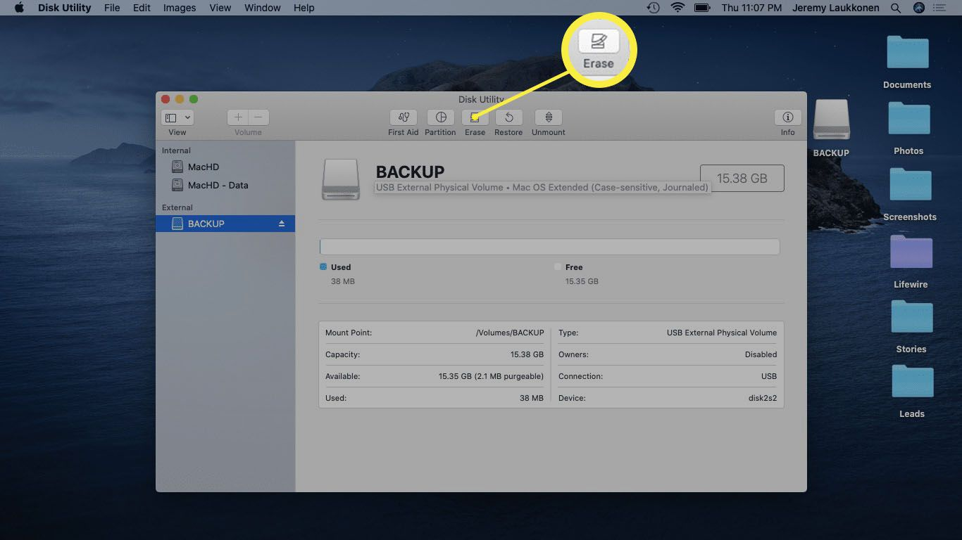 Disk Utility app on macOS.