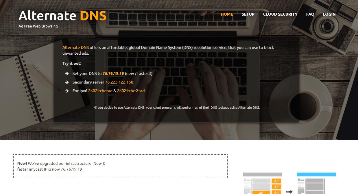 Alternate DNS website